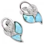 Natural Blue Larimar Fancy 925 Sterling Silver Dangle Earrings XE10