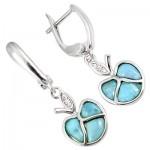 Natural Blue Larimar Fancy 925 Sterling Silver Dangle Earrings XE06