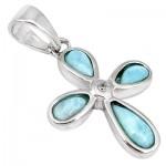 925 Sterling Silver Holy Cross Blue Larimar Topaz Pendant